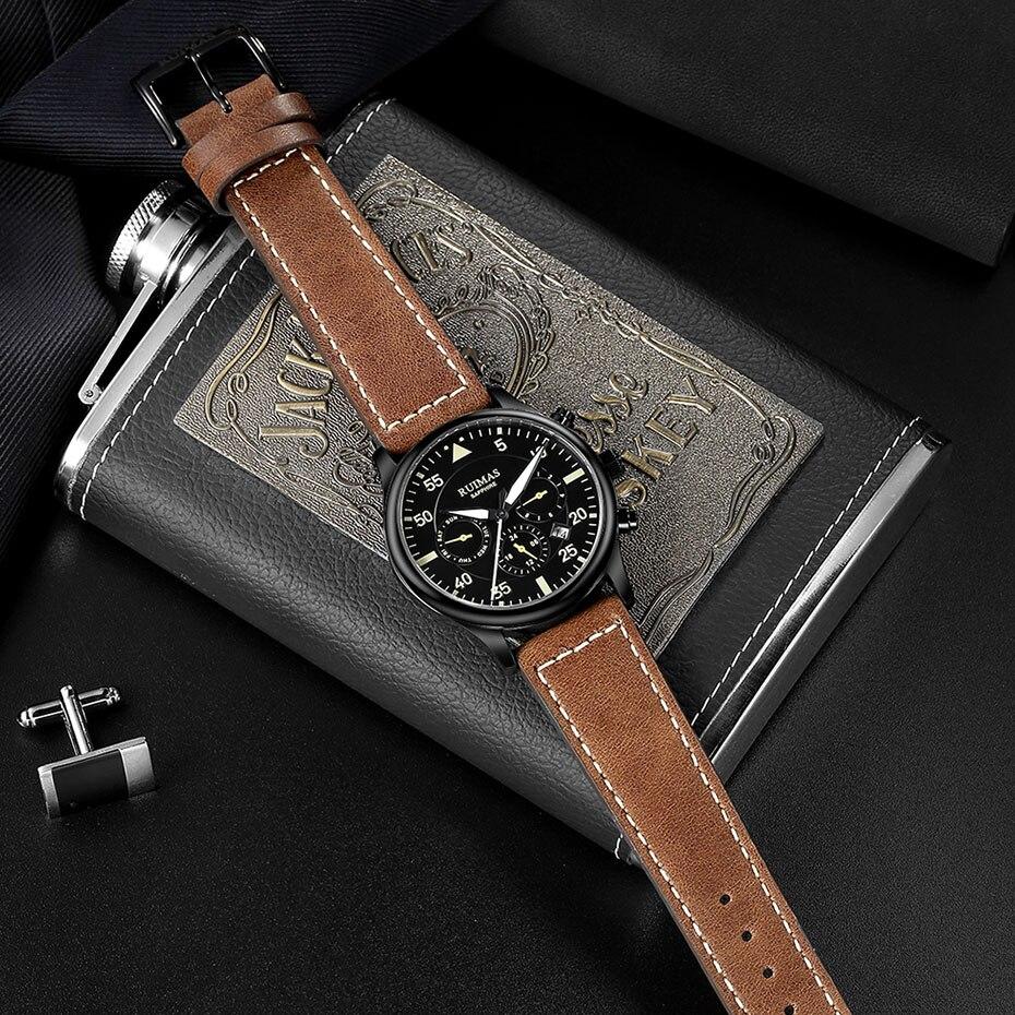 Image 3 - RUIMAS Men Fashion Genuine Leather Strap Watch Automatic Business  Mechanical Watches Male Clock Wristwatches Erkek Kol SaatiMechanical  Watches