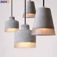 Nordic Стиль Лофт Винтаж цемента подвесные светильники Ретро промышленные смолы подвесные светильники ресторан Кухня Спальня hanglamp блеск