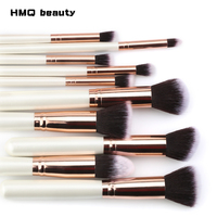 10 шт./компл. Профессиональный набор кистей для макияжа Белая Ручка розовое золото мягкие синтетические волосы макияж кисти для основы косме...