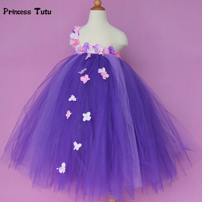 New Flower Fairy Girl Dress Tulle Tutu Dress Kids Birthday Party Wedding Bridesmaid Gowns Dresses For Children Princess Costume feathers flower girl dresses baby girl tutu dress tulle princess dress ball gowns kids wedding birthday bridesmaid party dress