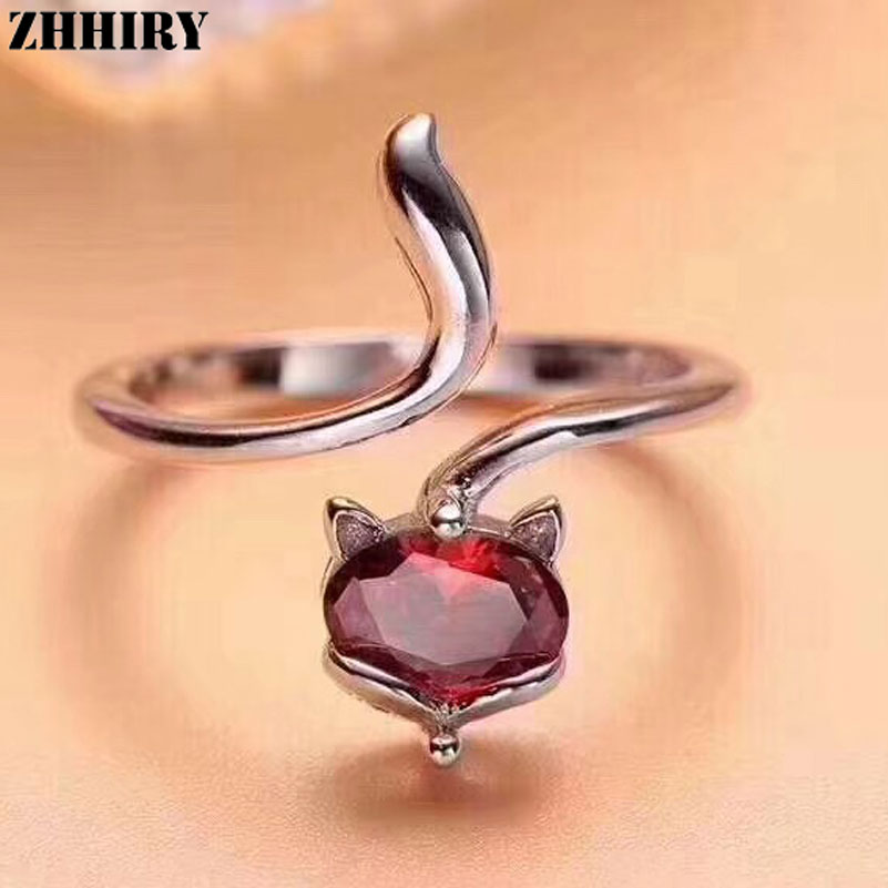 ZHHIRY For Woman Genuine Natural Pyrope Garnet Ring 925 Sterling Silver Rings Color Gemstone Fox Shape Fine Jewelry все цены