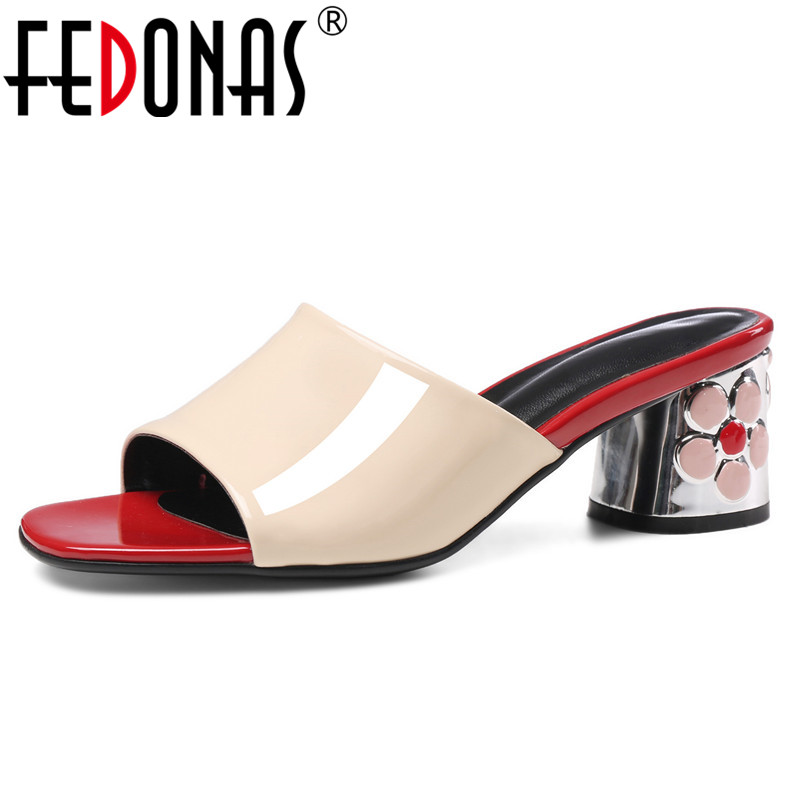 FEDONAS New Women Genuine Leather High Heels Summer Shoes Woman Fashion Party Wedding Shoes Woman Ladies
