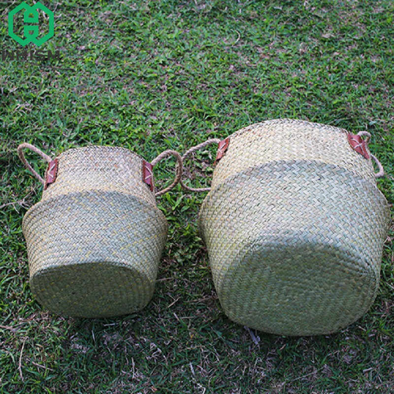 Handmade Seagrass Cesto de Armazenamento Vaso de Flores Plantador de WHISM Recipiente Roupas Sacos de Roupa Dobrável Sundries Organizador