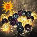 220/20W 20 LED Warm White Rattan Ball String Fairy Lights For Christmas Xmas Wedding decoration Party