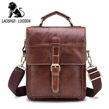 Male Shoulder Bags Genuine Leather Men's Messenger Oil Wax Crossbody Pocket Man Fashion Handbag Flap Ipad Business Travel Blosa