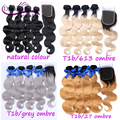Brazilian Virgin Hair Body Wave Human Hair Extensions Natural Colour,T1b/613,T1b/27,T1b/grey 4pcs Hair Weave Bundle With Closure