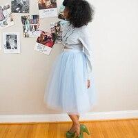 Pale Blue Midi Tulle Skirt Custom Made Knee Length Puff Women Clothing Saias Lolita Faldas Jupe A Line High Quality