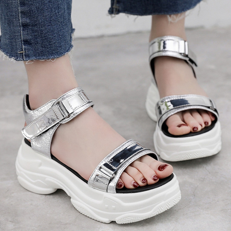 Platform Womens Sandals PU Leather Silver Casual Fashion Hook&Loop Ladies Shoes Wedge Sandals Women Beach Shoes 2048wPlatform Womens Sandals PU Leather Silver Casual Fashion Hook&Loop Ladies Shoes Wedge Sandals Women Beach Shoes 2048w