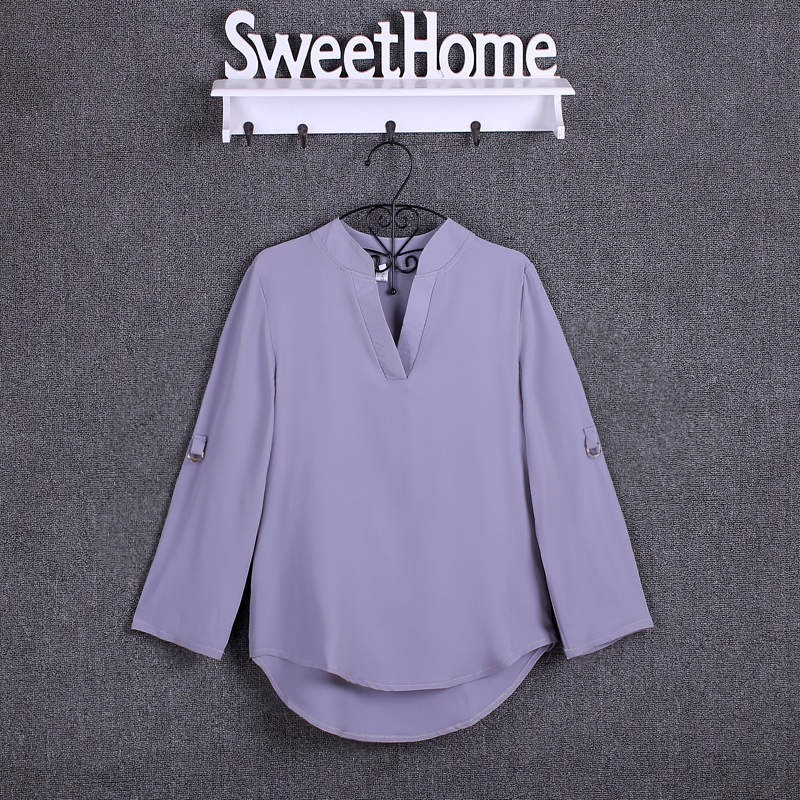 HTB100gyKpXXXXclXFXXq6xXFXXXH - Chiffon Blouse Shirts Women's Long Sleeve V-Neck