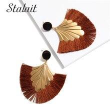 Luxury Leaves Sector Ribbon Tassel Earrings Women's' Big Round Gold Color Flower Sequins Dangle