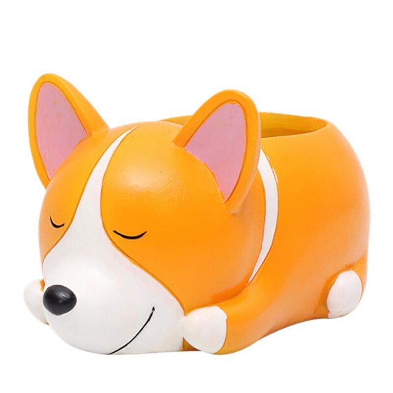 8 Cartoon Dogs Flower Vase Resin Succulent Cute Sleeping Animal For