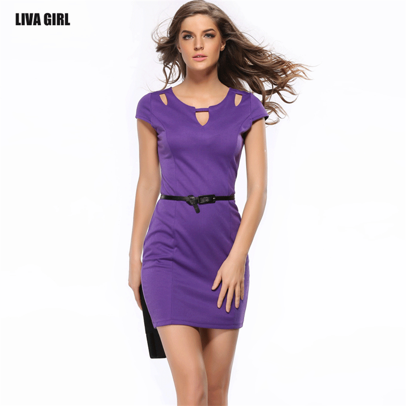 2017 New Fashion Summer Mini Purple Black Chiffon Casual Work Pencil Beauty Comfortable Brief Office Solid Short Women Dress