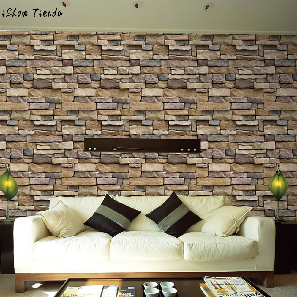 3D Wall Stickers Paper Brick Stone Rustic Effect Self
