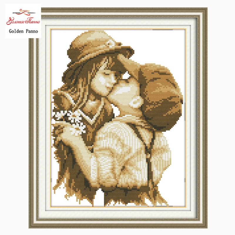 Golden Panno,Needlework,Embroidery,DIY Portrait Painting,Cross Stitch,kits,11ct Kissing Kids Cross-stitch,Sets For Embroidery