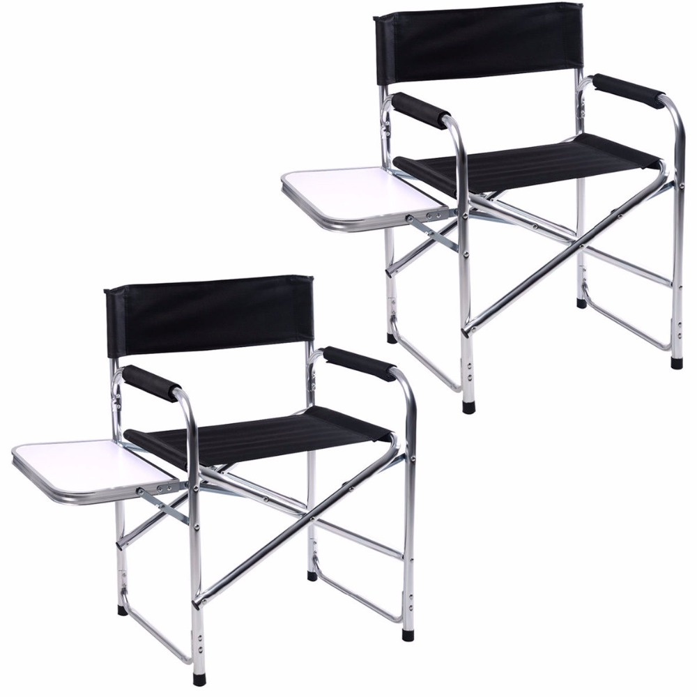 все цены на 2PC Aluminum Folding Director's Chair with Side Table Camping Traveling GOPLUS  2*HW51196 онлайн