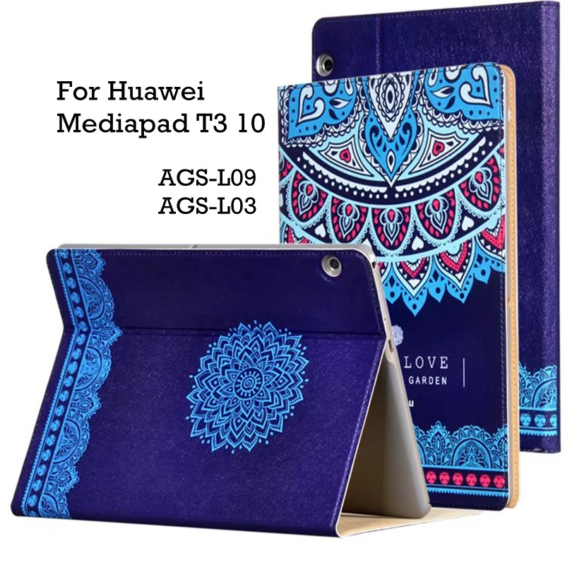 Leather Case For Huawei Mediapad T3 10 Cute Cartoon Satnd Smart Cover Case For Honor Play Pad 2 9.6 inch AGS-L09 AGS-L03 +Film