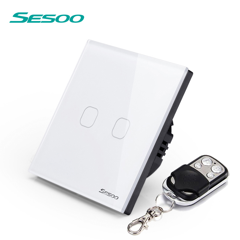 SESOO EU/UK 2 Gang 1 Way Remote Control Touch Switch Remote Wall Light Switch With Cystal Glass Panel & LED Indicator white minitiger y602a manufacturer touch switch ay y602 with led indicator golden glass panel 2 gang uk eu standard