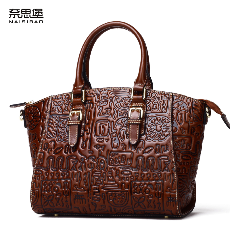 купить NAISIBAO women messenger bags 2017 genuine leather handbag vintage tote shoulder bag designer handbags crossbody Chinese style по цене 7140.79 рублей