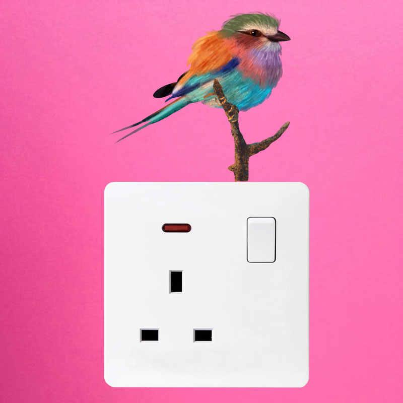 YOJA güzel renkli inci kuş güzel kaliteli PVC çocuk odası yatak odası dekor duvar Sticker renkli anahtarı 8SS1241