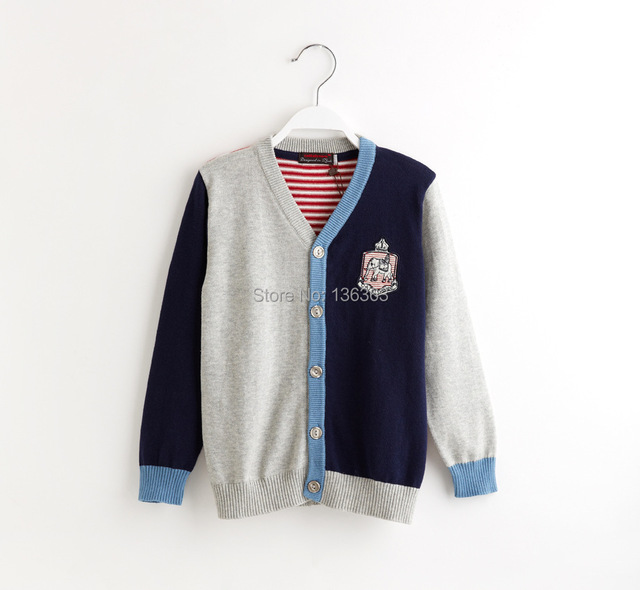 Catimini   2014 autumn Catimini boy long sleeve Cotton knitted sweater cotton tee children's sweater coat