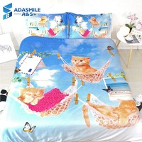 3pcs/set 3D Lovely Cat printed Children Bed Bedclothes Comfortable Kid's Room Pillowcase Microfiber Bedding Duvet Cover Twin