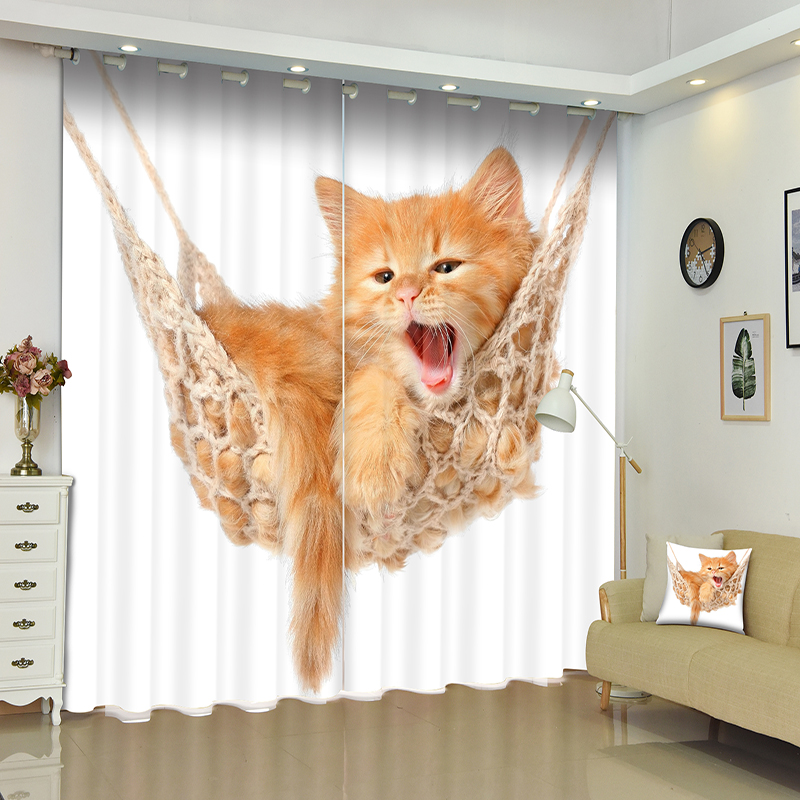 New Cartoon 3D Blackout Curtains Cute Naughty Kittens Pattern Thicken Fabric Children Bedroom Curtain For Living Room Cafe Hotel