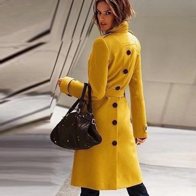Новая мода длинный плащ пальто для Для женщин 2016 Модель на весну и осень Для женщин полушерстяные пальто женский Однобортный Тренчи для женщин пальто Femme