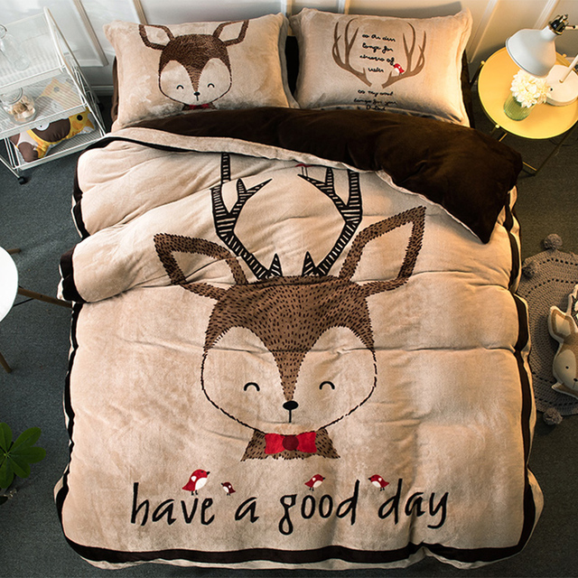 Cartoon Coral Fleece Piece Set Thermal Winter Thickening Flannel Bed Sheets  Warm Duvet Cover FL Velvet