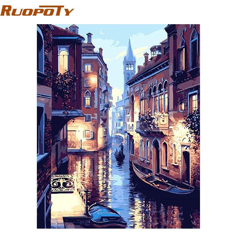 RUOPOTY Cornice di Paesaggio di Venezia Pittura DIY Dai Numeri Kit Picture By Numbers Calligrafia Pittura Regalo Unico Home Parete Artwork