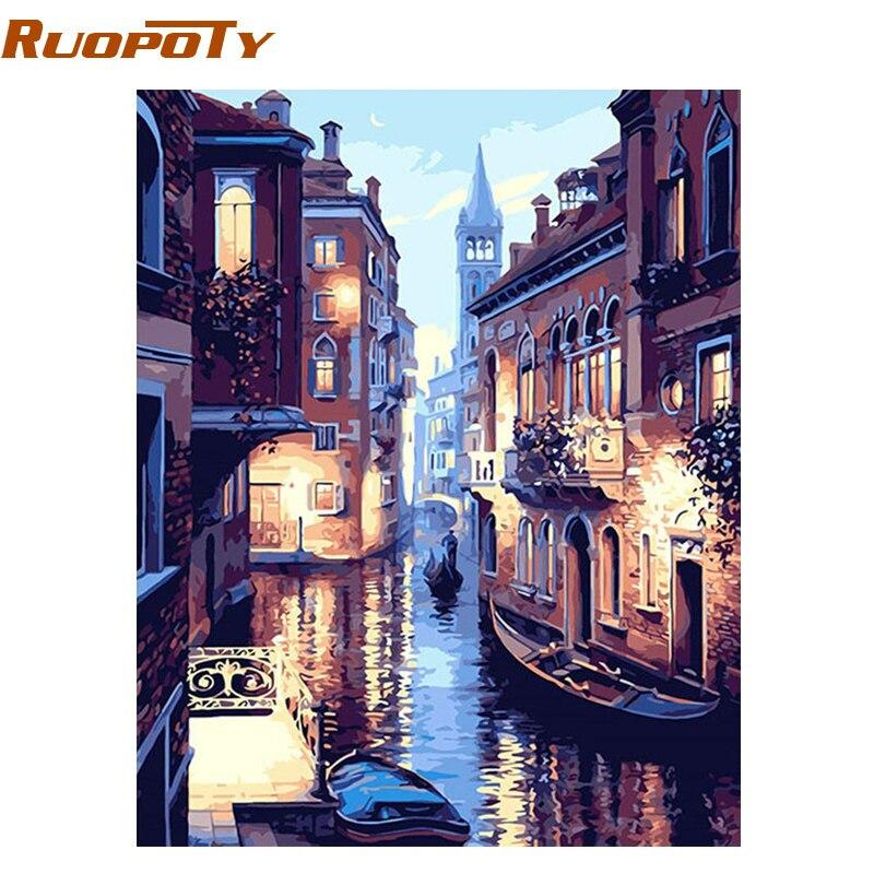 RUOPOTY Rahmen Venedig Landschaft DIY Malen Nach Zahlen Kit Bild Durch Zahlen Kalligraphie Malerei Einzigartiges Geschenk Home Wand Kunstwerk