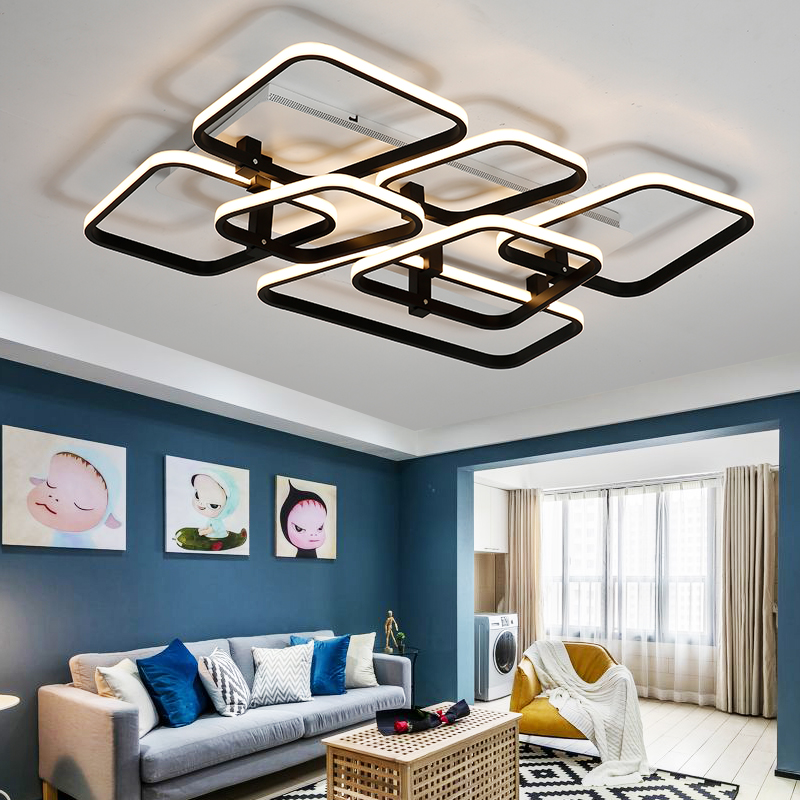 Rectangle Aluminum Modern Led ceiling lights for living room bedroom Stury Room AC85-265V White/Black Ceiling Lamp Fixtures led ceiling lights for hallways bedroom kitchen fixtures luminarias para teto black white black ceiling lamp modern