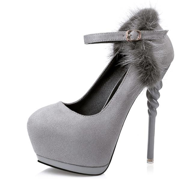 women heels wedding shoes bridal ankle strap heels 2017 dress shoes women pumps platform shoes grey high heels hair fur d943 in womens pumps from shoes on