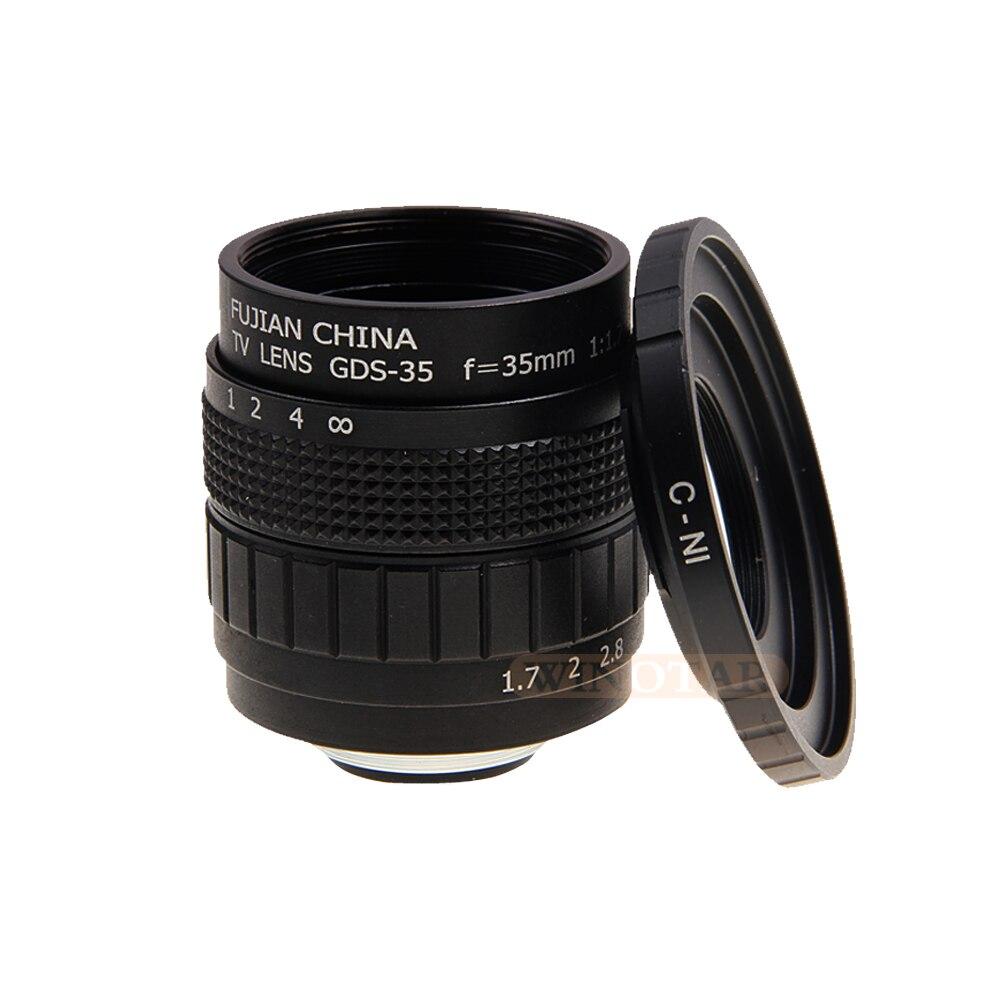 Enthusiastic Fujian 35mm F1.7 Cctv Tv Lens + C Mount Ring For Nikon 1 J5 J4 J3 J2 J1 V3 S2 V2 V1 Aw1 With A Long Standing Reputation