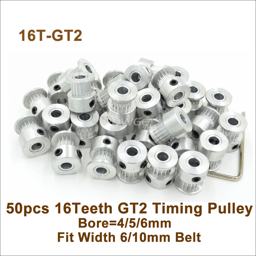 POWGE 50pcs 16 Teeth 2GT Timing Pulley Bore 4 5 6mm Fit Width 6 10mm 2GT