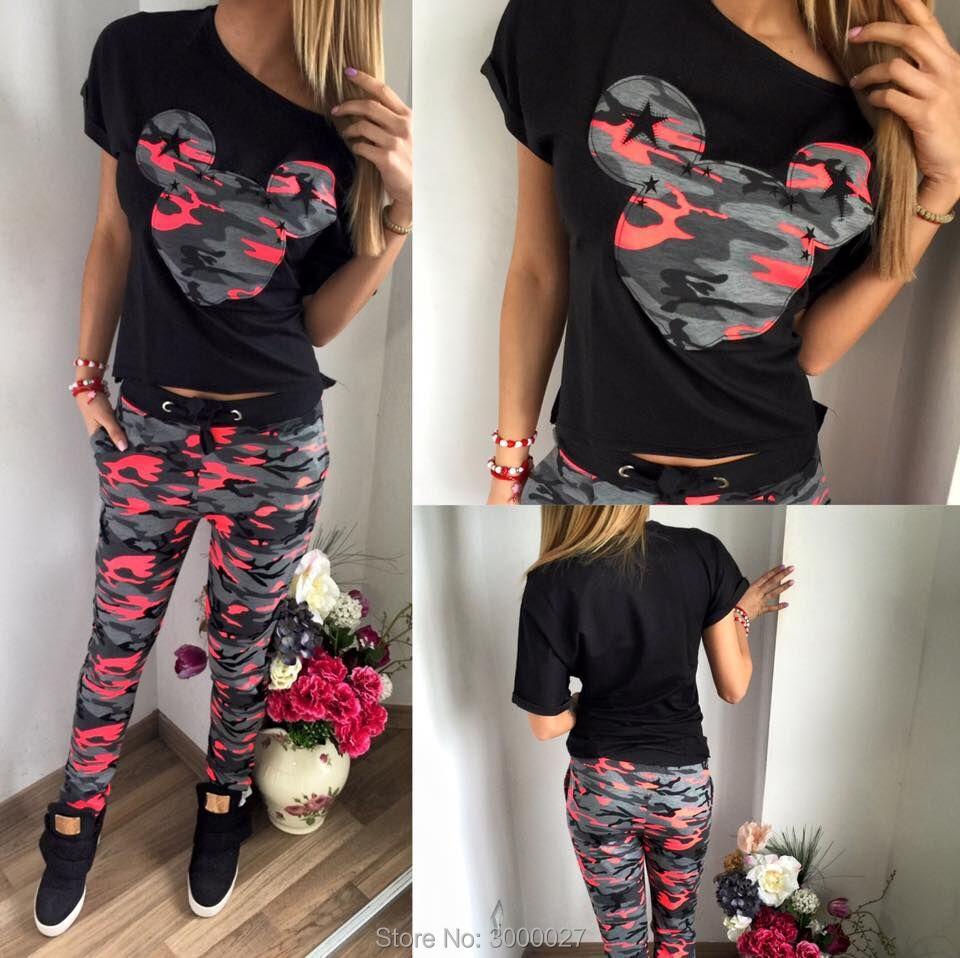 2 delar 2017 Nytt CosMaMa märke sommarkläder för kvinnors sommarkläder med kortärmad bomulls-t-shirt och kamouflagbyxor