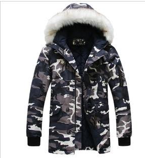 Kış Ceketler Mens erkek Moda Kişilik Büyük Boy Kamuflaj Ile Yeni Pamuk-yastıklı Ceket Erkek Kış Kış Parka kürk Hoo