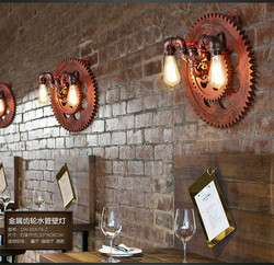 2 głowice krajem ameryki w stylu Loft osobowość kreatywny Iron fajka wodna restauracja kinkiet kawiarnia lampa darmowa wysyłka