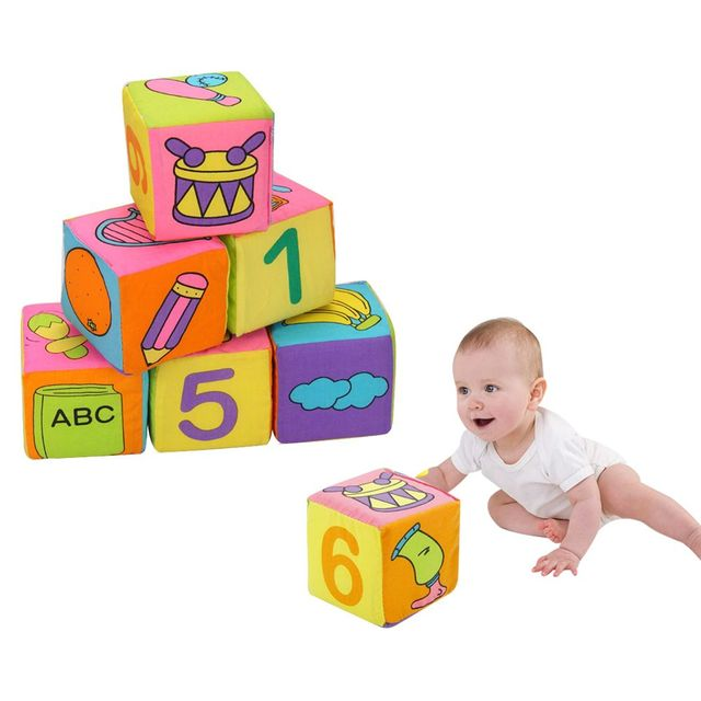 6 Pcs/lot 2017 Popular Multifunctional Soft Cloth Baby Rattle Toys Building  Blocks Play Cubes