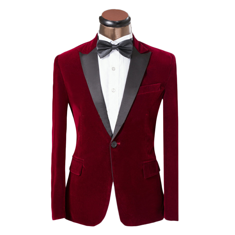2015 Fashion Men Tops Fashion Wine Red Suit Jacket Slim Fit Prom ...