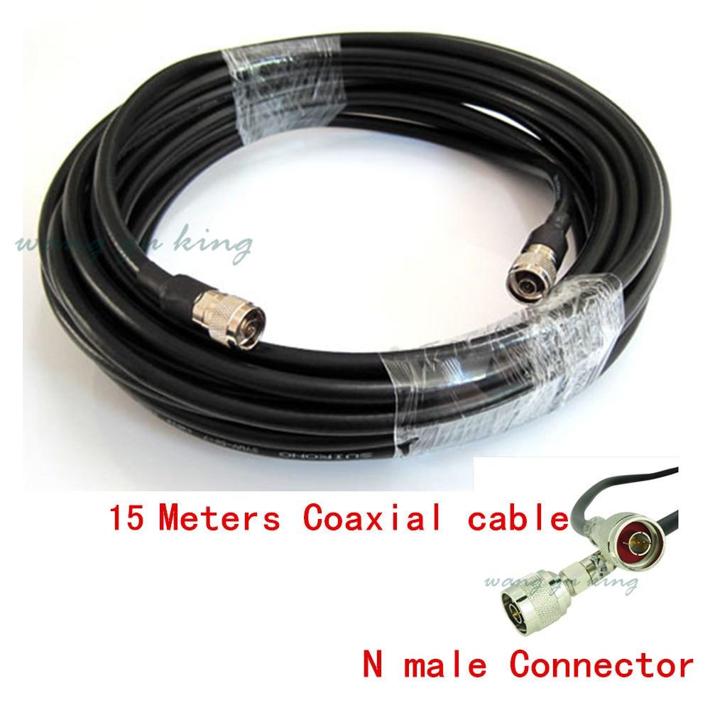Câble Coaxial à très faible perte de 50ohm 50-5 noir de 15 mètres pour connecter le Booster de Signal de téléphone portable au séparateur de puissance ou à l'antenne