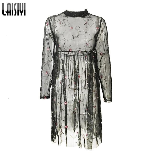 LAISIYI Embroidery Floral Mesh Dress Sexy Club Black Long Sleeve See  Through Dress Casual Boho White Dresses Vestidos ASDR21497 f8d6fd2f000f