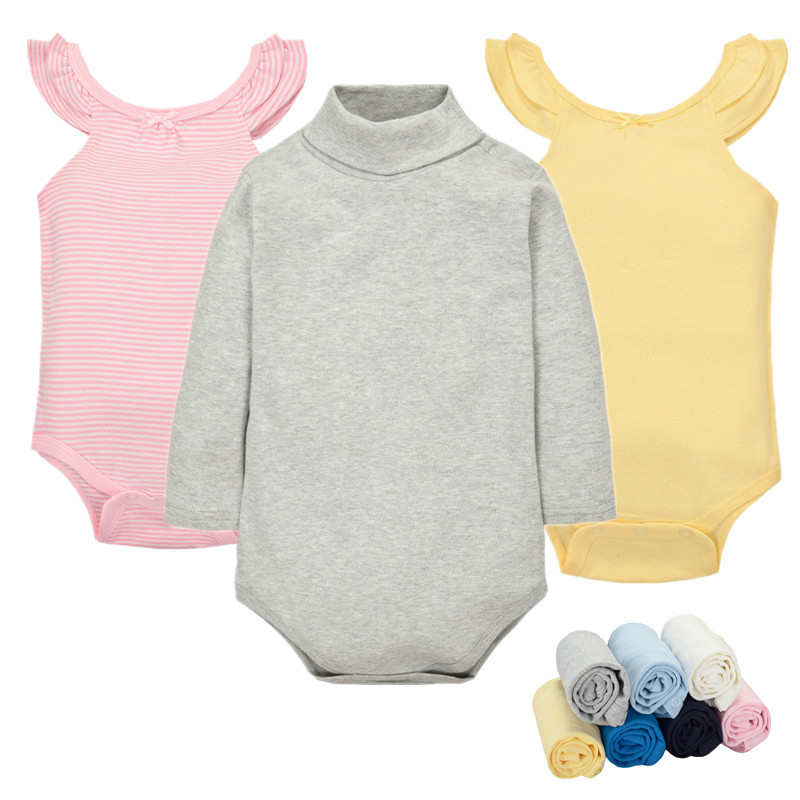 Cotton Baby Clothes 0-24M Newborn baby boy girl clothes Jumpsuit Long Sleeve Infant Product solid turtleneck Baby Romper B160