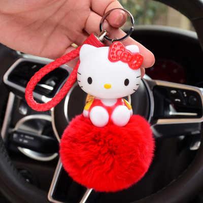 Olá Kitty Doraemon Urso Pom Pom Pele pompom Mulheres Chaveiro Bugiganga de Metal Chaveiro Carro Saco Pendente Charme D47