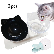 Cute Cat Face Shape Non-Slip Pet Bowls Adjustable Dual-Bowl Tilting Dog Food Bowl With Scoop Feeding Supplies