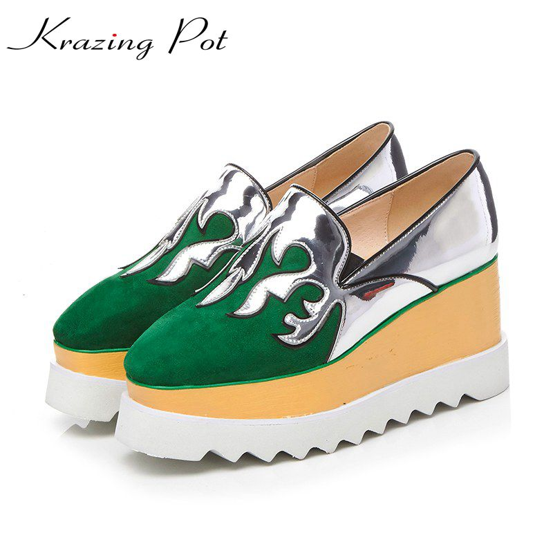 Krazing Pot sheep suede patch work pattern shoes women square toe slip on women pumps wedge superstar beauty increased shoes L99 fashion sheep suede tassel casual shoes square toe slip on women pumps wedges superstar flowers preppy style increased shoes l01