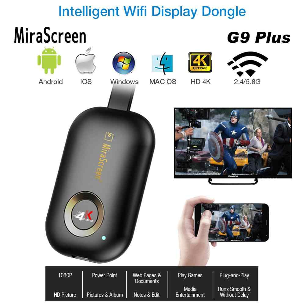 Mirascreen G9 Plus 2.4G/5.8G 4K Draadloze Hdmi Wifi Display Dongle Tv Stick Mirroring Miracast Airplay voor Android Ios