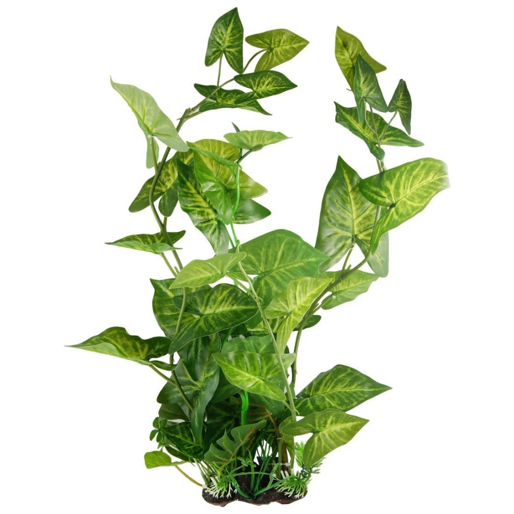 21 5 high aquarium green plastic artificial plants for Fake pond plants
