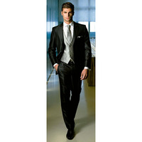 Shiny Black Wedding Suits For Men Custom Made Glossy Black Groom Tuxedo Subtle Patterned Fabrics Tailored