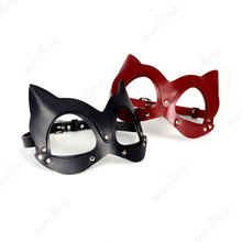 Masquerade Leather Mask Cosplay Halloween Cat Woman Face Real Cow Head Harness Kitten BDSM Kits Catwoman Toys