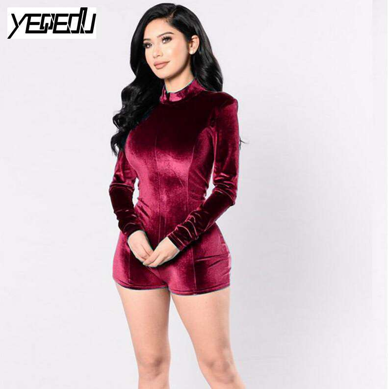 #1507 2020 Turtleneck Sexy Catsuit Body Feminino Long Sleeve Fleece Combishort Playsuit For Women Sexy Combinaison Body